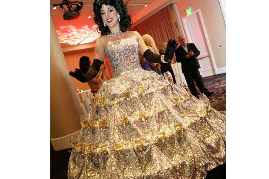 Unique Wedding Reception Ideas - Strolling Champagne Dress