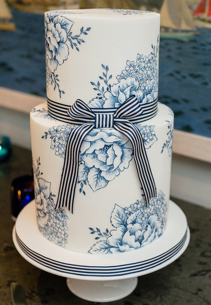 Hand Painted Cakes With Edible Paint - Cake With Blue Flowers and Striped Ribbon