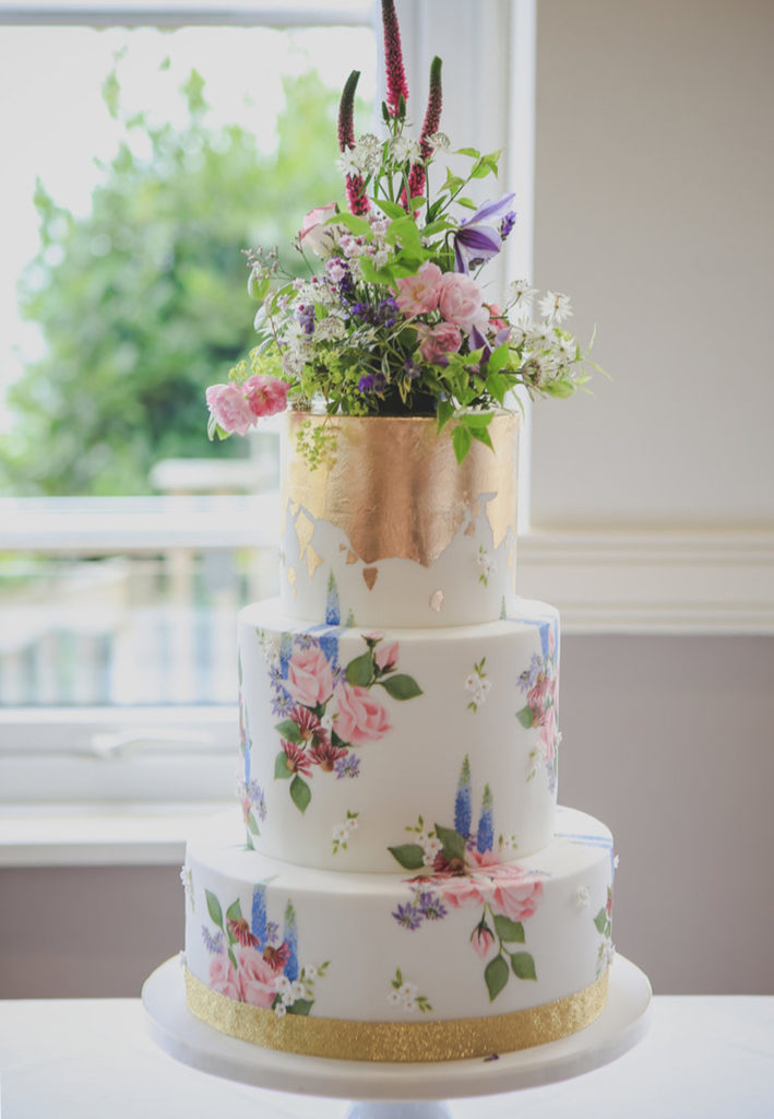 Hand Painted Cakes With Edible Paint - Floral Cake With Gold Flake Accent and Topped With Fresh Flowers