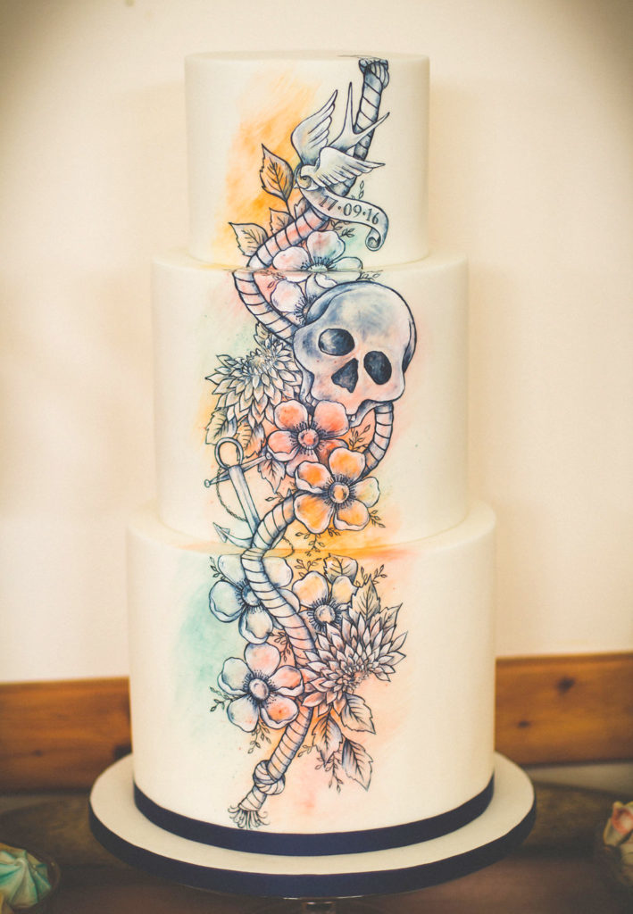 Hand Painted Cakes With Edible Paint - Cake With Skull and Flowers