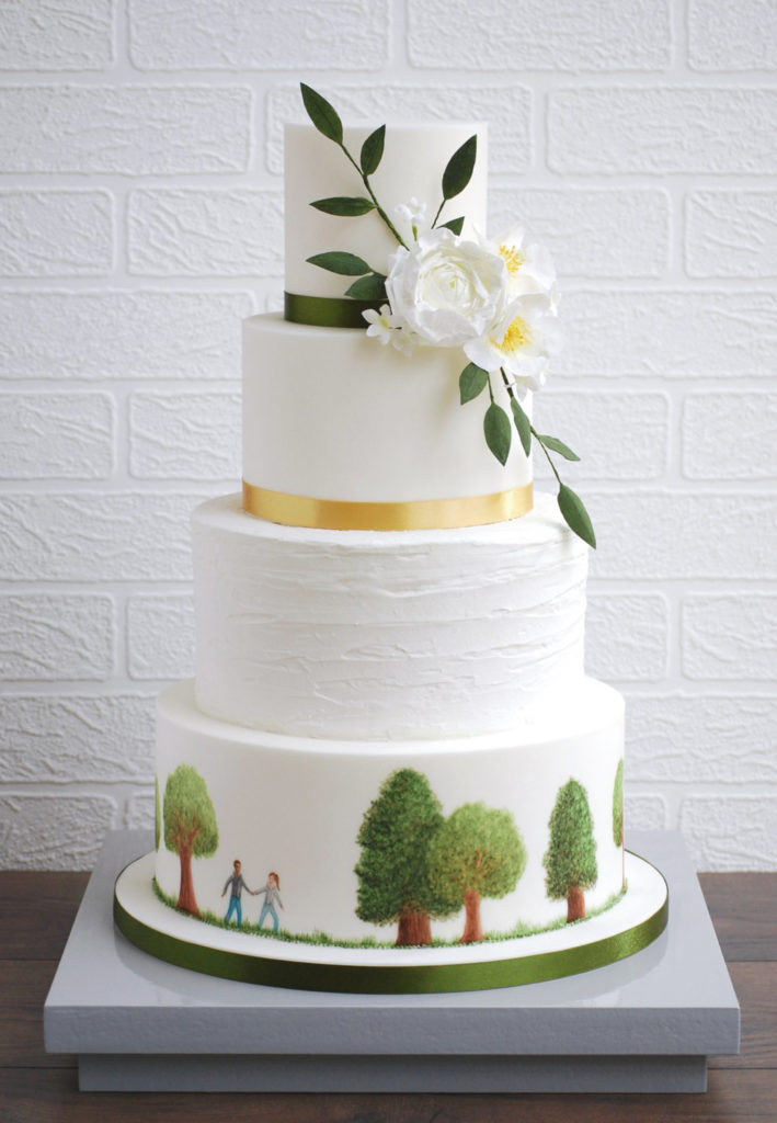Hand Painted Cakes With Edible Paint - Cake with Trees and Couple Walking