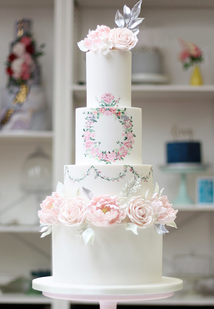 Hand Painted Cakes With Edible Paint - White Cake With Pink Flower Wreath and Garlands
