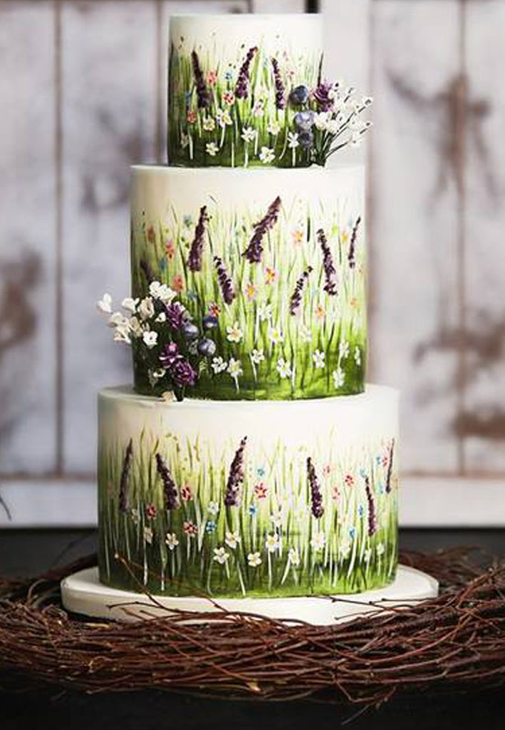 Hand Painted Cakes With Edible Paint - Cake With Tall Grass