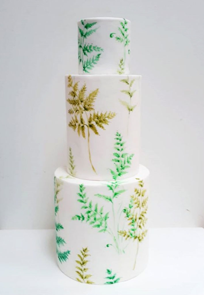 Hand Painted Cakes With Edible Paint - Layer Cake With Leaves