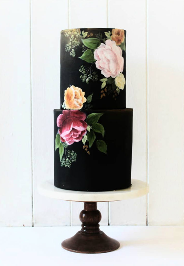 Hand Painted Cakes With Edible Paint - Black Cake With Flowers