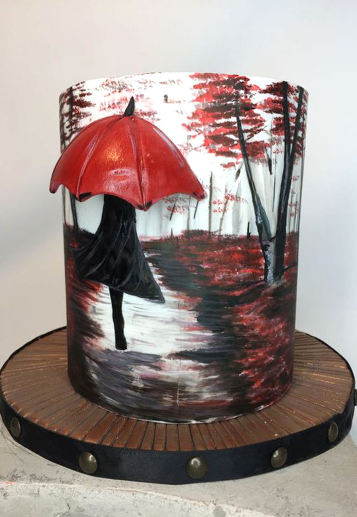 Hand Painted Cakes With Edible Paint - Autumn Cake With Umbrella And Leaves