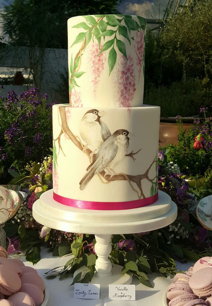 Hand Painted Cakes With Edible Paint - Cake With Leaves and Birds