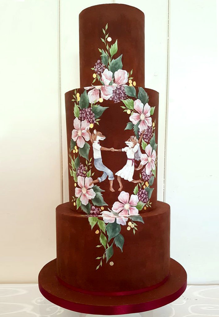 Hand Painted Cakes With Edible Paint - Cake With Foxes Dancing and Flowers