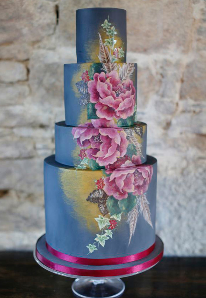 Hand Painted Cakes With Edible Paint - Blue Cake With Pink Flowers