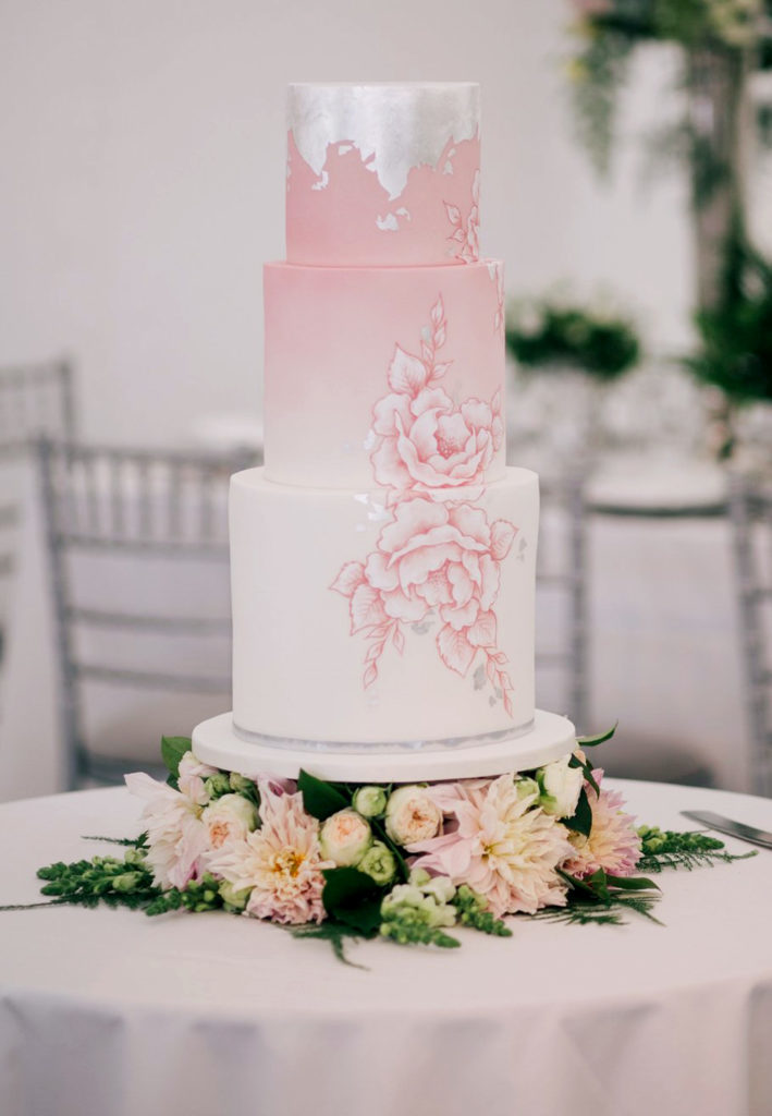 Hand Painted Cakes With Edible Paint - Pink Floral Cake with Silver Flake Topping