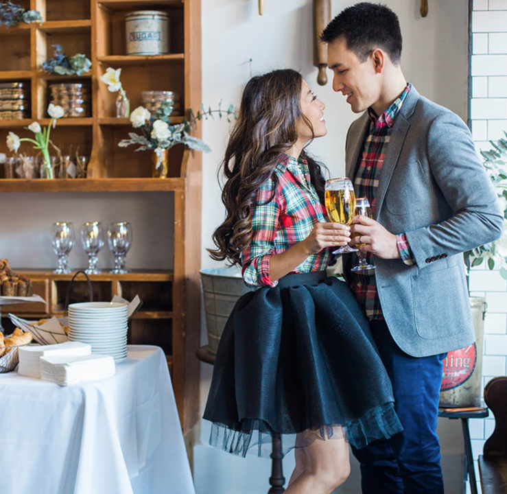 Engagement Party Planning - Couple Holding Champagne Glasses