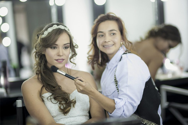 Wedding Makeup Artist With Bride