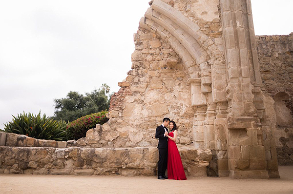 Engagement Photo Shoot - Couple At Mission San Juan Capistrano