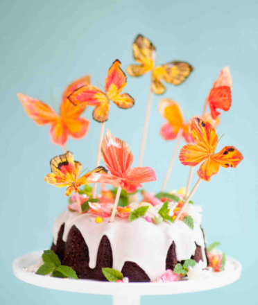 Orange Butterfly Wedding Cake Toppers