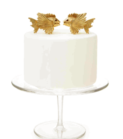 Gold Fish Wedding Cake Toppers On White Cake