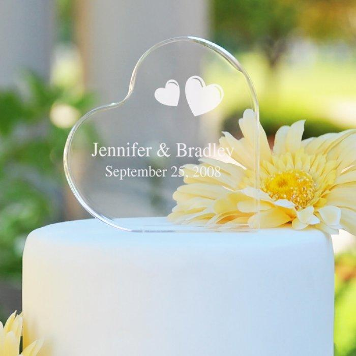 Wedding Cake Toppers - Glass Heart Shaped Topper On White Cake