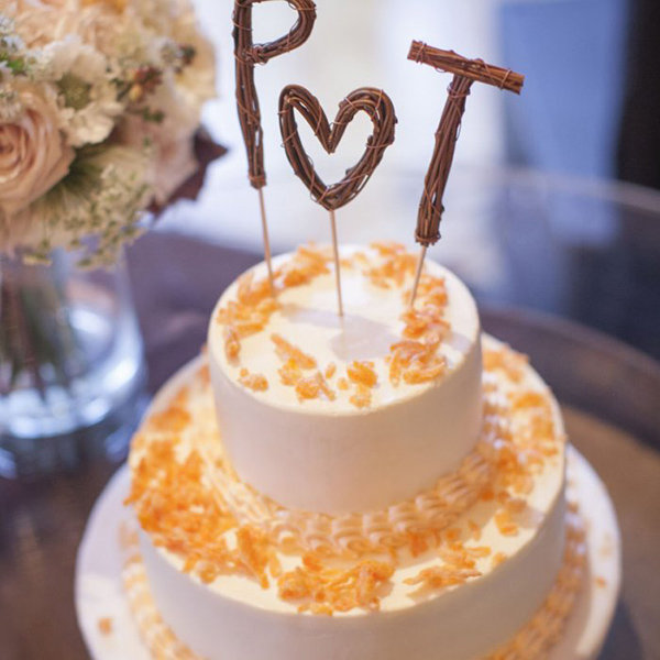 Rustic Lettering Wedding Cake Toppers On White Cake