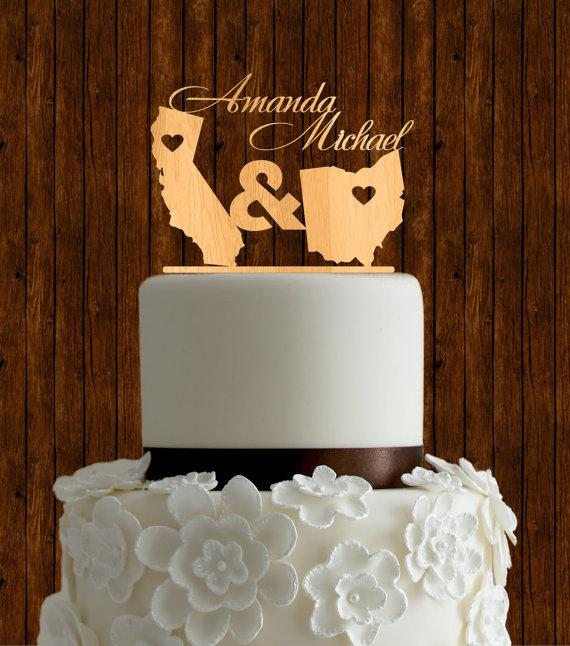 Personalized Wedding Cake Toppers With States