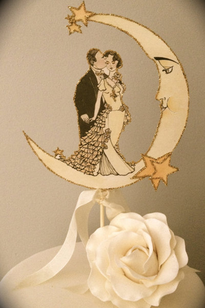 Vintage Wedding Cake Toppers With Crescent Moon