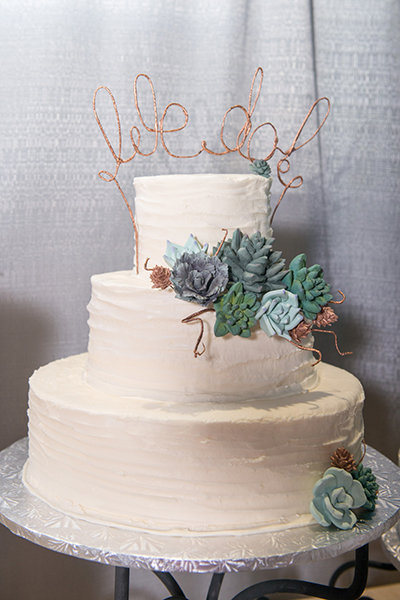 Wedding Cake Toppers - Wire We Do Wording On White Cake