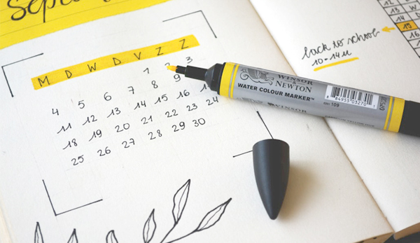 Calendar With Yellow Highlighter