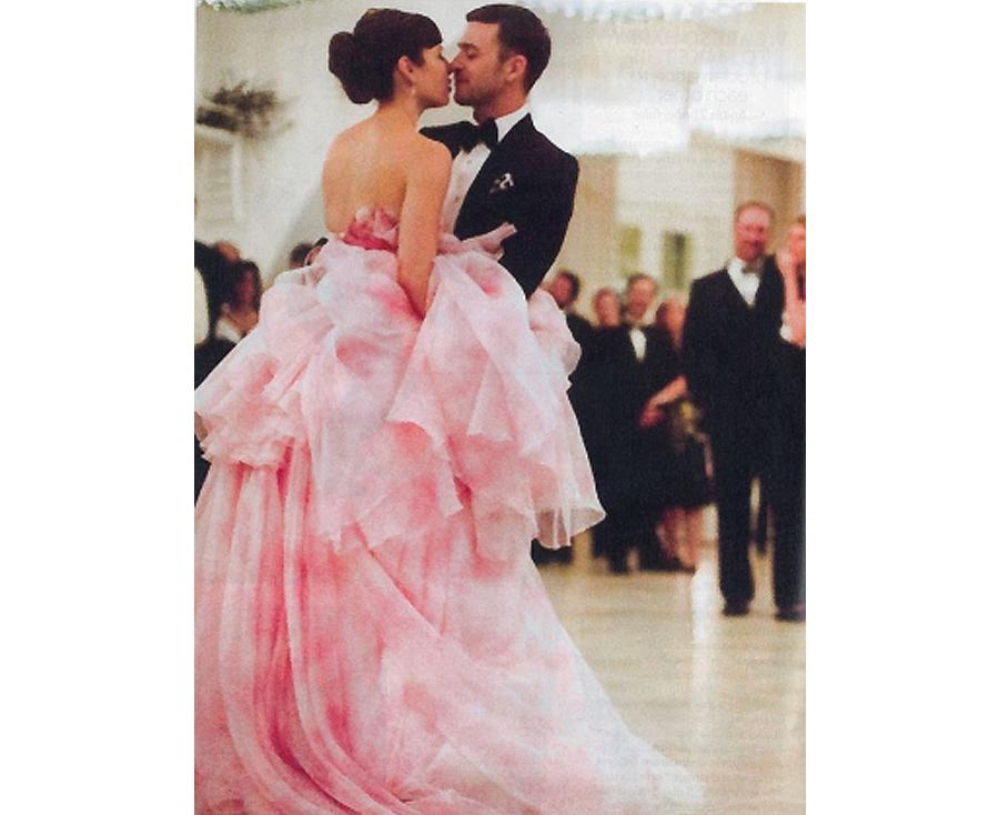 Non White Wedding Dresses - Jessica Biel Pink Wedding Dress