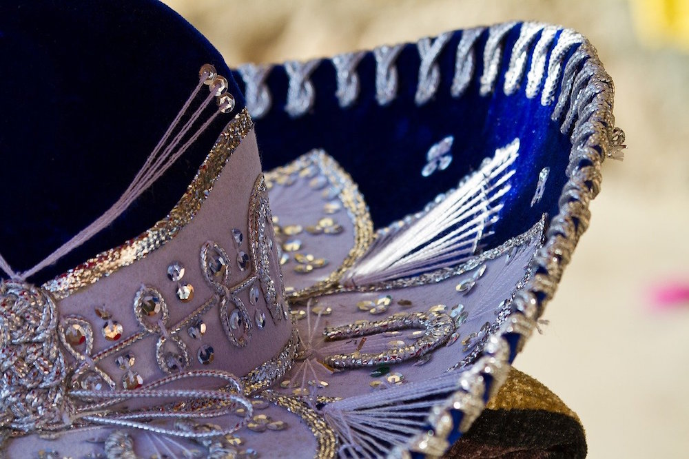 Blue Mariachi sombrero with jewels.