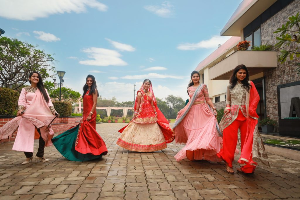 Indian bridesmaids with Indian bride.